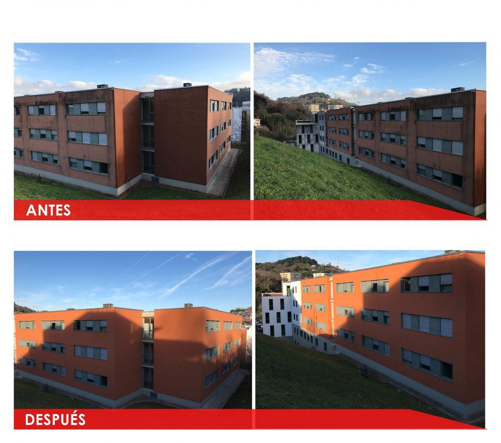 antes y despues Residencia Donosti